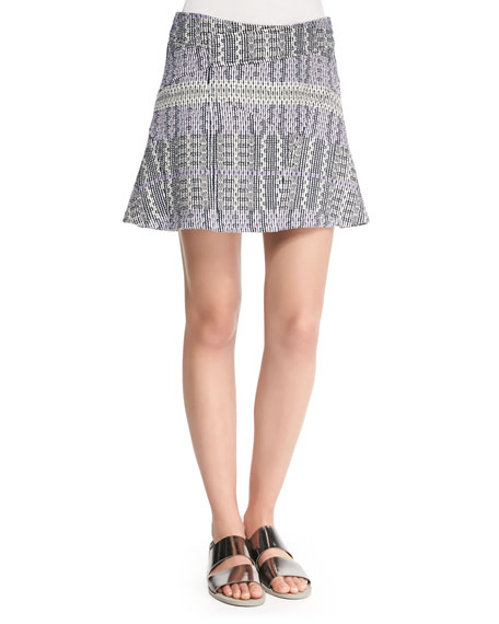 Derek Lam 10 Crosby Patterned Asymmetric Flare Skirt