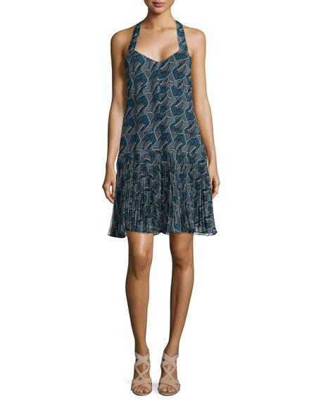 Derek Lam 10 CrosbyPrinted Pleated-Hem Silk Dress