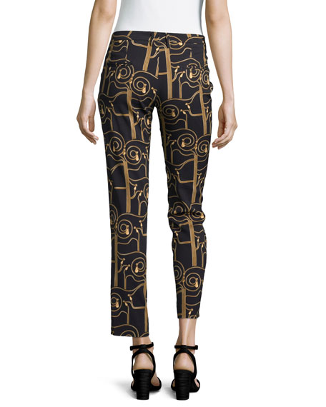 Printed Stretch Jersey Cropped Trousers