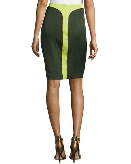 Colorblock Zipper-Detail Knee Skirt, Green
