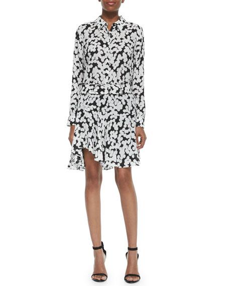 Floral-Print Belted Skirt