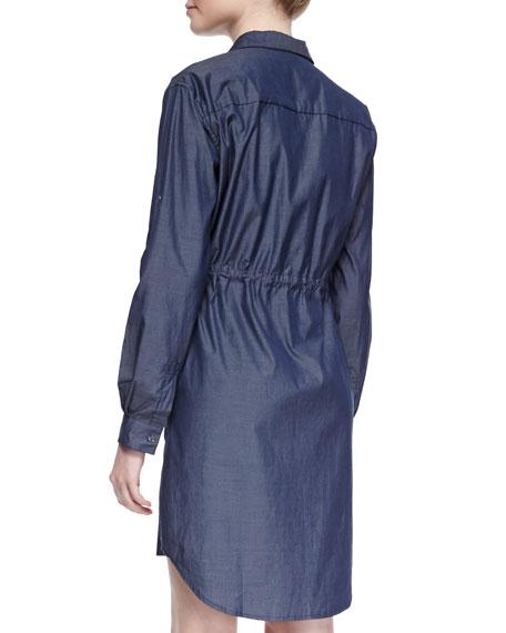 Parka Drawstring Chambray Shirtdress