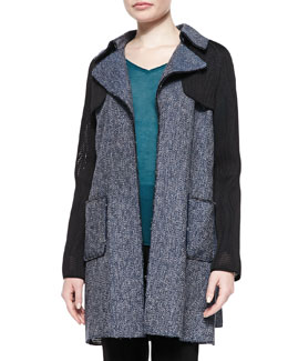 Lisa Tweed & Mesh Belted Coat