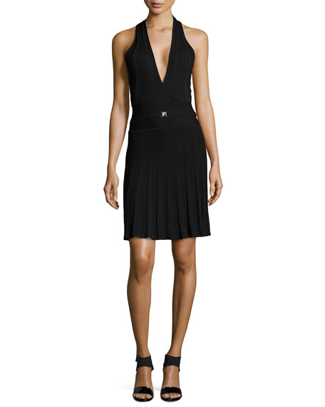 Versace Knit Halter Dress with V Neckline