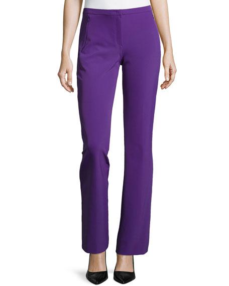 Boot-Cut Zip-Pocket Pants, Iris