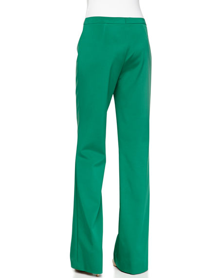 Flat-Front Boot-Cut Pants