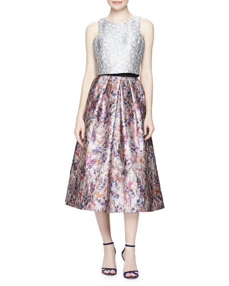 Floral-Print Jacquard Ball Skirt