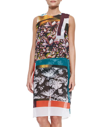 Chrome Mixed-Print Chiffon Coverup