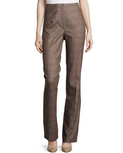 Plaid Straight-Leg Pants, Camel