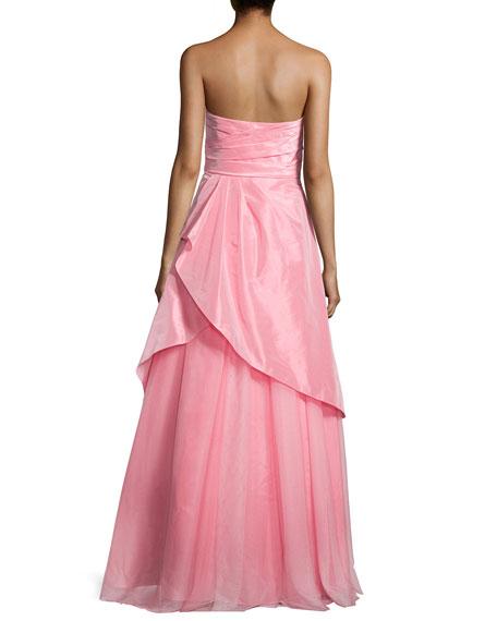 Strapless Draped Taffeta Gown