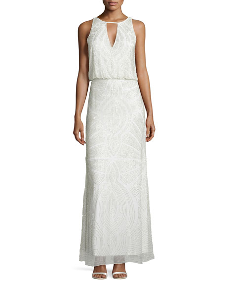 Aidan Mattox Beaded-Pattern Halter Gown