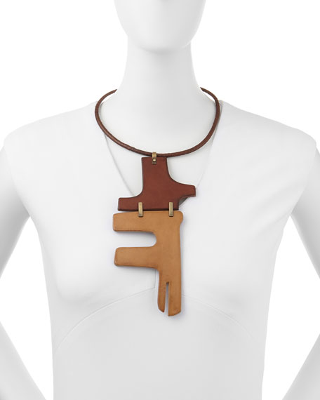 Wide Two-Piece Puzzle Choker Necklace, Luggage/Camel