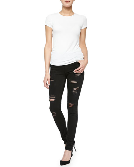Halle High-Waist Destroyed Skinny Jeans
