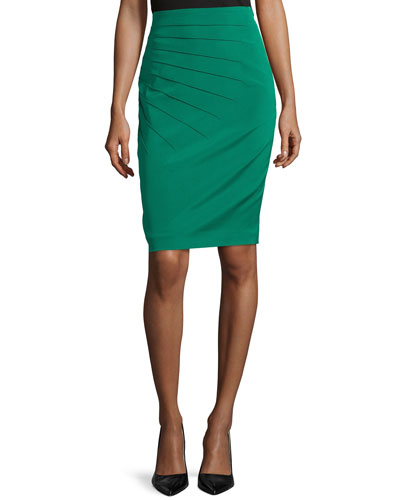 Pleated Pencil Skirt, Smaragd