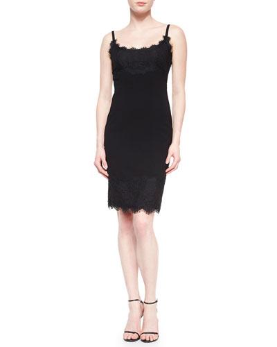 Olivette Lace-Trim Crepe Dress