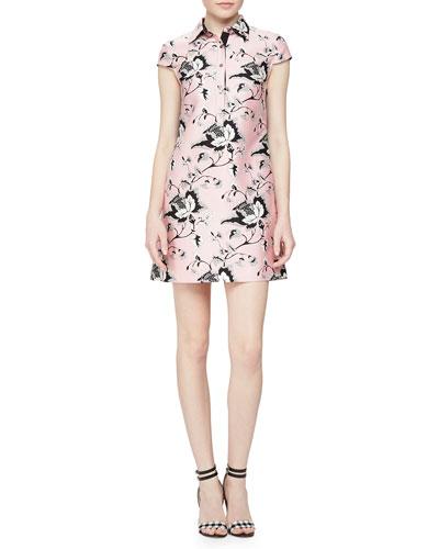 Toile-Pattern Sateen Dress
