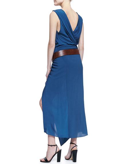 Long Sleeveless V-Neck Wrap Dress