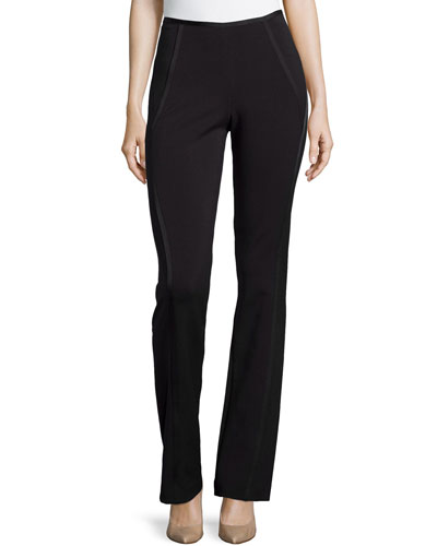 Bootcut Pants with Seamed Details, Black