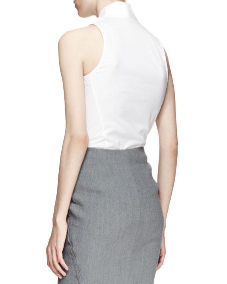 87b46e4dc209 Donna Karan Sleeveless Plunging Poplin Bodysuit, White