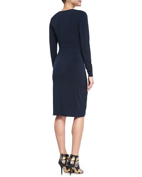Long-Sleeve Cascade Wrap Dress, Women's