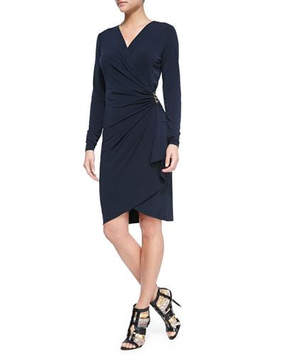 Long-Sleeve Cascade Wrap Dress, Women
