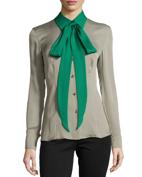 Silk Colorblock Tie-Neck Blouse, Sage