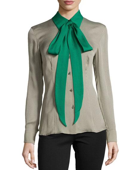 Silk Colorblock Tie-Neck Blouse, Sage