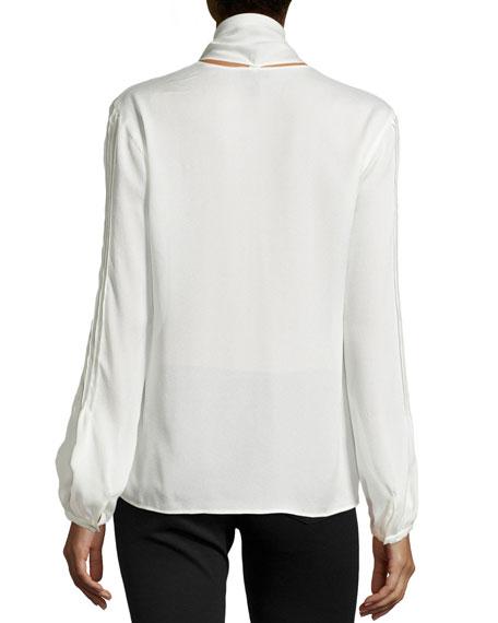 Long-Sleeve Tie-Neck Silk Blouse