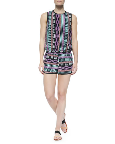 Diaz Printed Sleeveless Short Jumpsuit