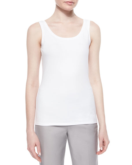 NIC+ZOE Perfect Jersey Scoop-Neck Tank, Paper White, Petite