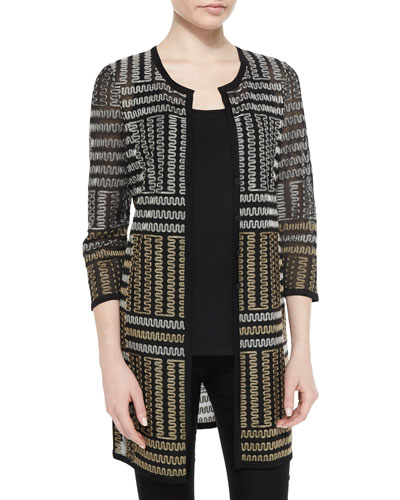 Excursion Long Zigzag Embroidered Jacket, Petite