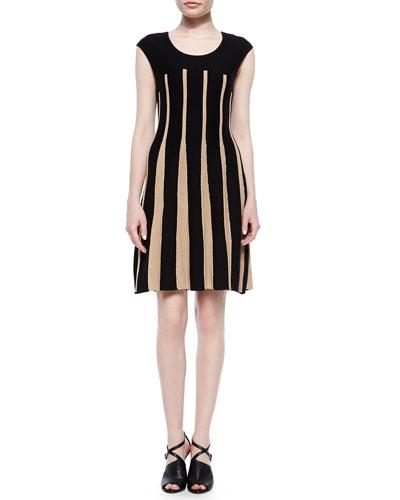 Linear Lines Twirl Dress, Black/Tan, Petite