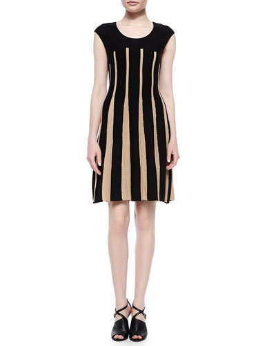Linear Lines Twirl Dress, Black/Tan, Women