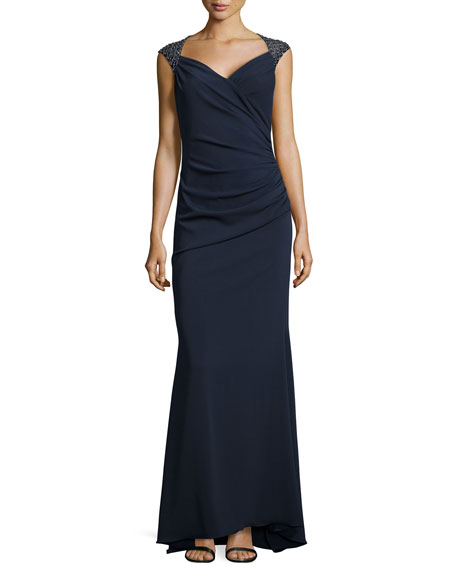 Beaded Shoulder Draped Gown