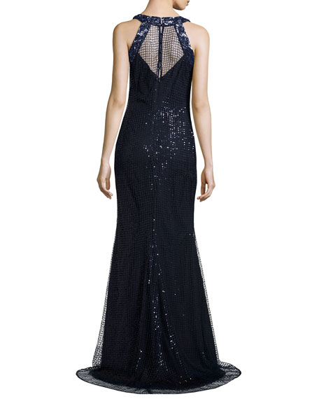 Sleeveless Sequined Mermaid Gown