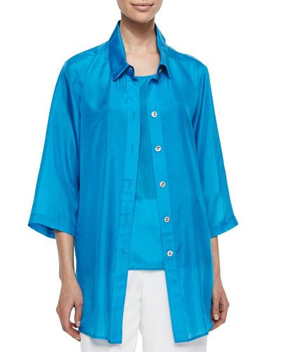Long Tissue Silk Shirt, Petite