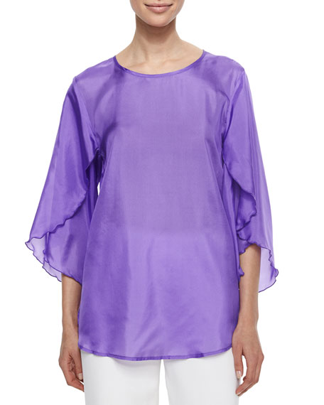 Caroline Rose Tissue Silk Butterfly-Sleeve Top, Petite