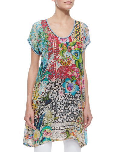 Milla Floral-Print Long Tunic, Women's