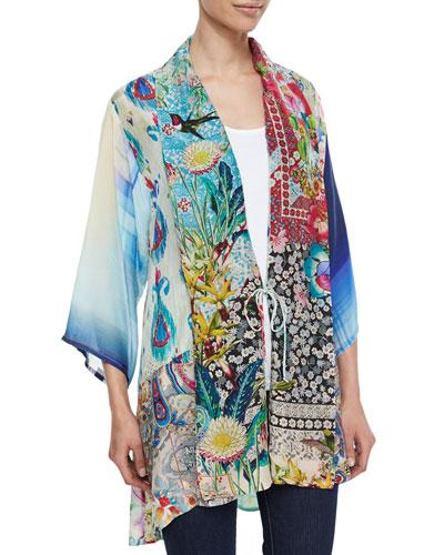 Mixed-Print Tie-Front Silk Kimono, Women's