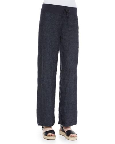 Linen Delave Wide-Leg Pants, Denim, Petite