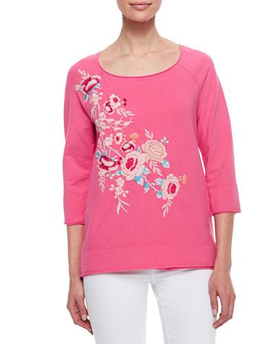 Sawyer Embroidered 3/4-Sleeve Sweatshirt, Women's