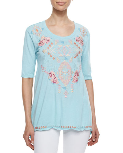Betty Embroidered Trapeze Tee, Women's