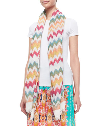 Chevron-Print Cotton Scarf