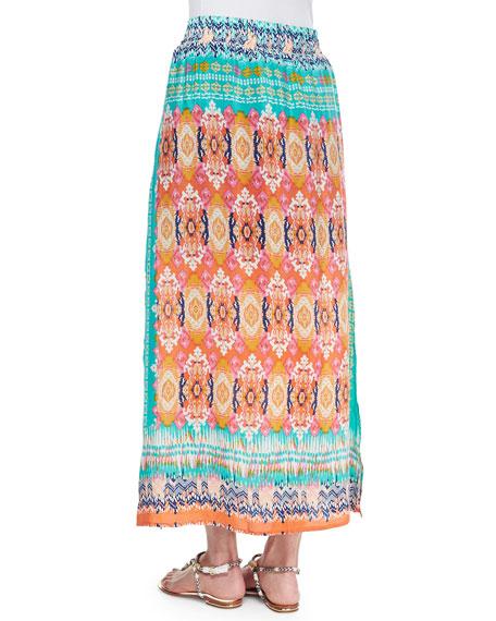 Hazel Printed Silk Long Skirt, Orange