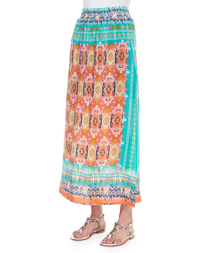 Hazel Printed Silk Long Skirt, Orange