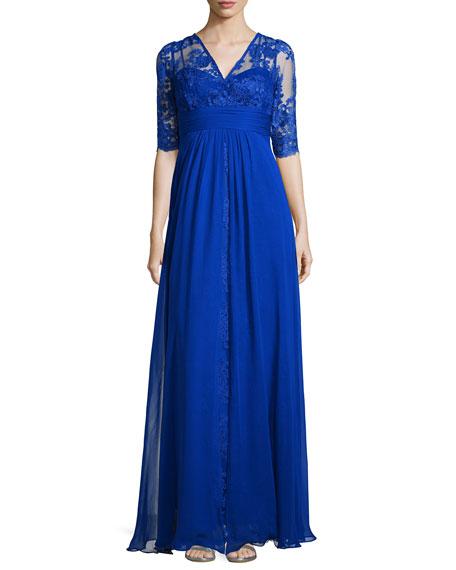 Rickie Freeman for Teri Jon Lace-Bodice Illusion-Neckline Gown,
