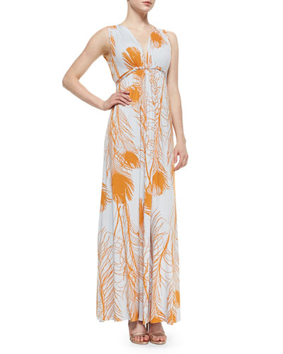 Long Quill-Print Caftan Dress, Women