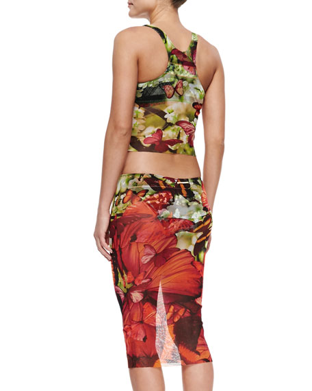 Jean paul gaultier butterfly print skirted two piece swimsuit - Piece jean paul gaultier ...