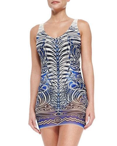 Tattoo-Print Maillot with Tulle Overlay