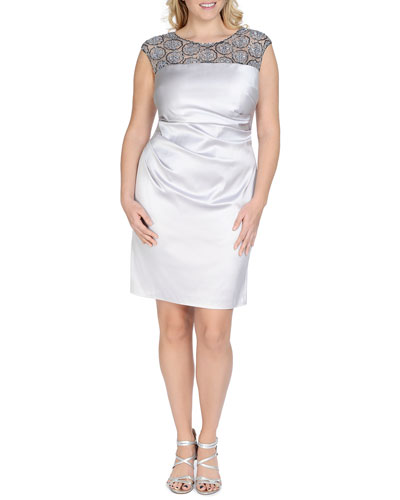 Beaded-Mesh Ruched Cocktail Dress, Women's